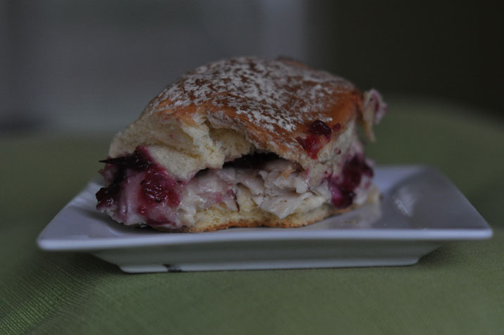 You won't be able to eat just one of these hot turkey and cranberry party sandwich